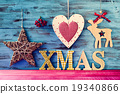 rustic christmas ornaments and text xmas 19340866