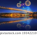 Beautiful fireworks and cityscape of Istanbul 19342210