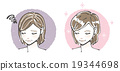 Before-after illustration of gray hair women (middle women) 19344698