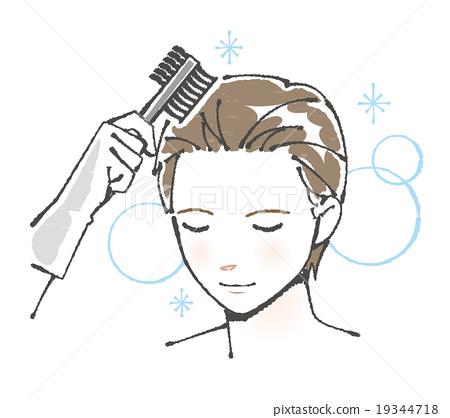 머리를 컬러링하는 젊은 남성 일러스트 19344718