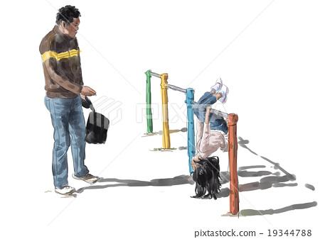 철봉을 여자와 아버지 19344788