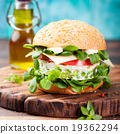 Vegetarian burger with egg and pea patty 19362294