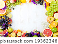 Fruits, berries , flowers frame, wooden background 19362346