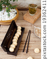 Traditional asian sesame cookies in a wooden box 19362411