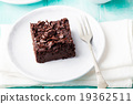 Chocolate brownie, cake, white plate 19362511