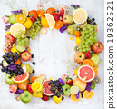 Fruits, berries , flowers frame, wooden background 19362521