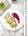 Duck breast meat with fresh salad, arugula 19362538