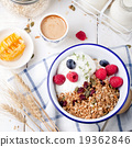 Healthy breakfast Granola honey, yogurt 19362846