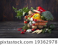 Vegetables variety in a wire basket 19362978