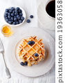 Fresh waffles with blueberries, maple syrup 19363058