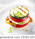 Grilled vegetables, cheese gratin stacked 19363183