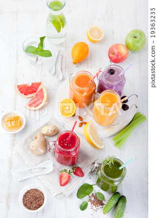 Stock Photo: Smoothies, juices, beverages, drinks variety