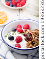 Healthy breakfast Granola honey, yogurt 19363236