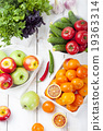 Fresh fruits, vegetables and herbs variety 19363314