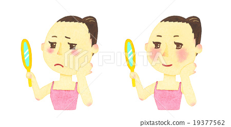 A woman looking a mirror 19377562