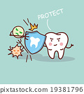 health cartoon tooth with shield 19381796