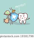 health cartoon tooth with shield 19381796