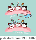 cartoon tooth family with floss 19381802