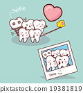 Happy cartoon tooth take selfie 19381819