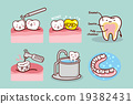 cartoon tooth with dental equipment 19382431