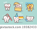 cartoon tooth with floss 19382433