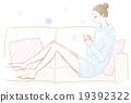 A woman relaxing on the sofa 19392322