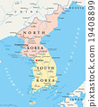 North Korea and South Korea Political Map 19408899