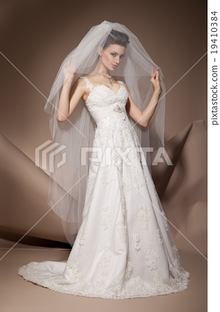 The beautiful young woman in a wedding dress 19410384