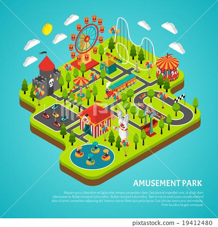 Amusement Park Attractions Fairground Isometric 19412480