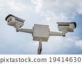 two of CCTV security camera 19414630