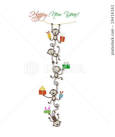Happy new year card design with funny monkeys - Stock Illustration ...