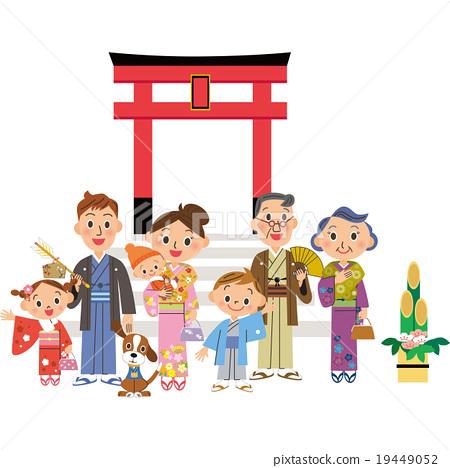 Three Generation Families to New Year 's Shrine 19449052