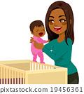 Young Mom Baby Crib 19456361