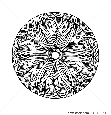 mandala monochrome style zentangle and Doodle 19462312