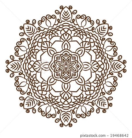 Hand Drawn Henna Tattoo Mandala Vector Lace Stock Illustration