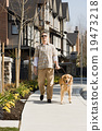 golden retriever, man, outdoors 19473218