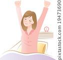 一个女人早上起床和伸展 19473690