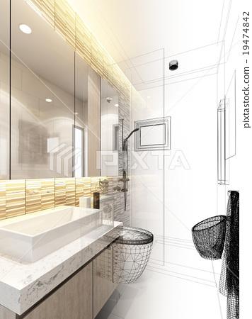 abstract sketch design of interior bathroom  19474842