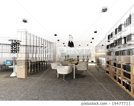 abstract sketch design of interior dining room 19477711