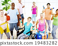 Group Healthy People Fitness Exercise Unity Concept 19483282