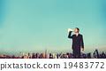 Business Man Announcement City Rooftop Concept 19483772
