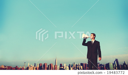 Business Man Announcement City Rooftop Concept 19483772