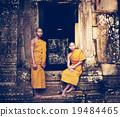 Serene Monk Angkor Wat Siam Reap Cambodia Concept 19484465