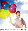 Happy Boy Outdoors Dozen Helium Balloons Playful Concept 19484532
