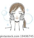 顔をマッサージする女性イラスト 19496745