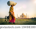 Indian Woman Carrying on Head Goat Taj Mahal Concept 19498380