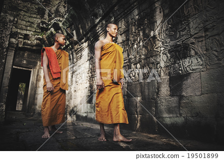 Contemplating Monk in Cambodia Culture Concept 19501899