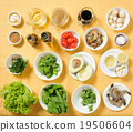 Ingredients for salad on seaparate plates 19506604