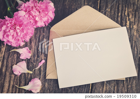 Stock Photo: Blank white greeting card with brown envelope