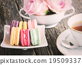 Macaroons with cup of tea 19509337